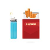 Cigarettes pack box and lighter with fire vector illustration isolated