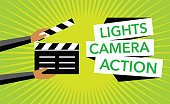 cimena concept background with clapboard vector
