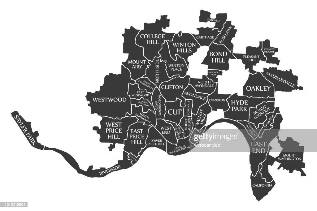 Cincinnati Ohio city map USA labelled black illustration