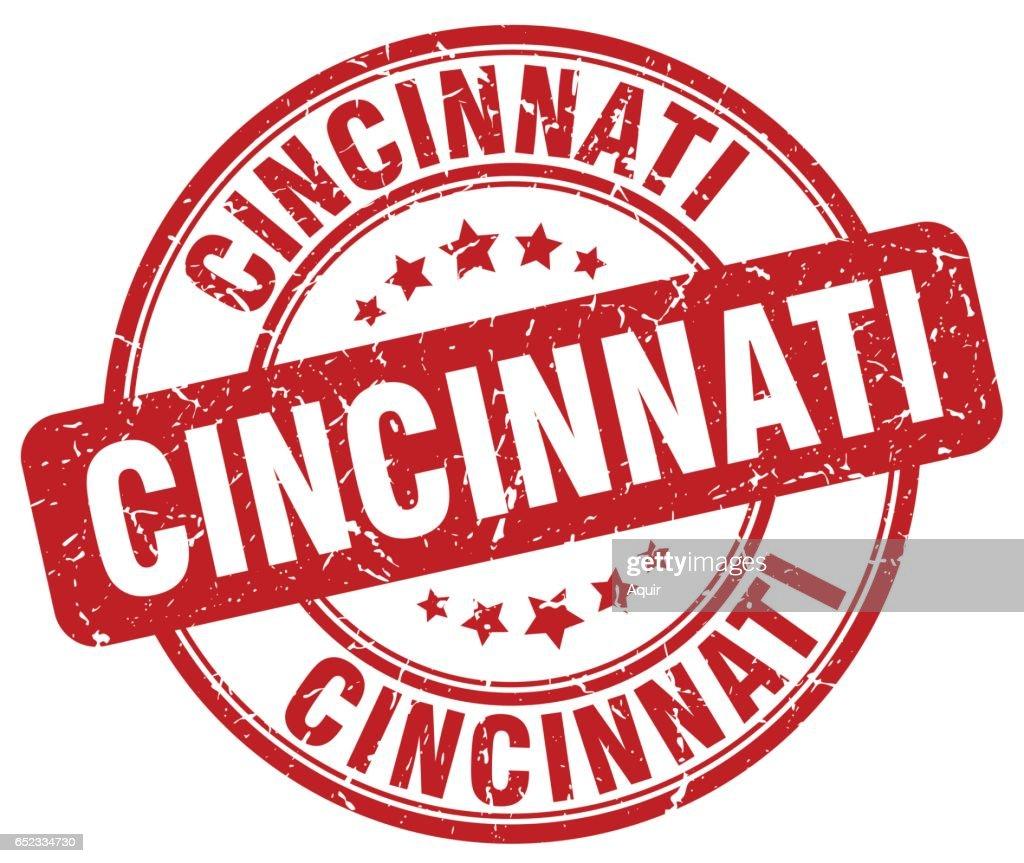 Cincinnati red grunge round vintage rubber stamp