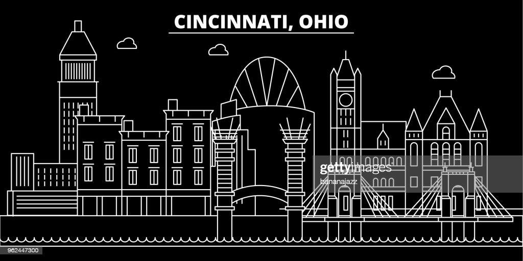 Cincinnati silhouette skyline. USA - Cincinnati vector city, american linear architecture, buildings. Cincinnati travel illustration, outline landmarks. USA flat icon, american line banner