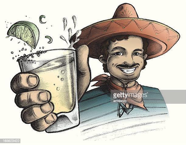 ilustrações, clipart, desenhos animados e ícones de cinco de mayo, beba! - tequila bebida destilada