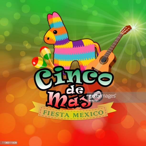 ilustrações, clipart, desenhos animados e ícones de cinco de mayo fiesta méxico - pinata