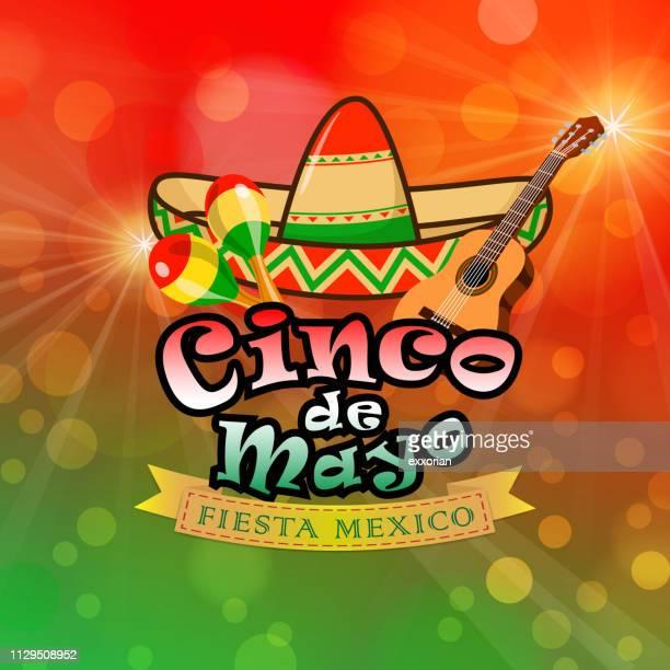 cinco de mayo fiesta méxico - sombrero stock illustrations