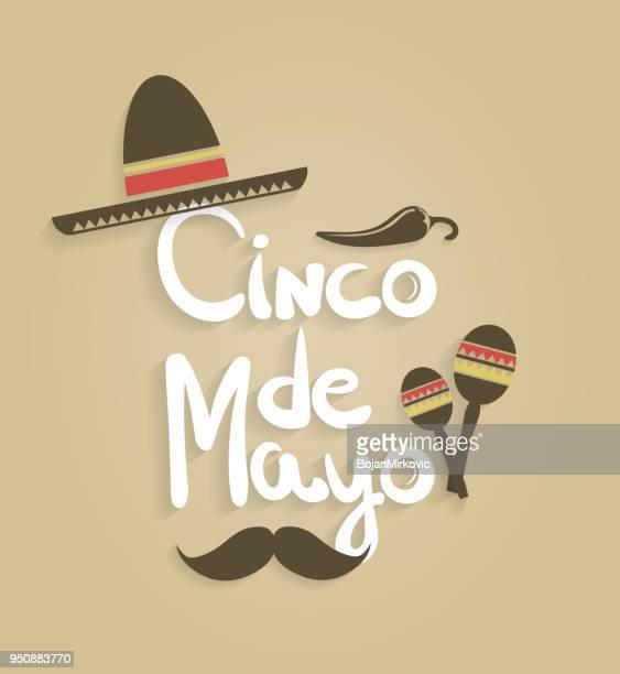 シンコ ・ デ ・ マヨ。手描きこしょう、ソンブレロ、マラカスでレタリングします。ベクトルの図。 - sombrero点のイラスト素材/クリップアート素材/マンガ素材/アイコン素材