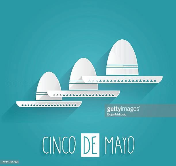 cinco de mayo. handwritten text on blue background - sombrero stock illustrations