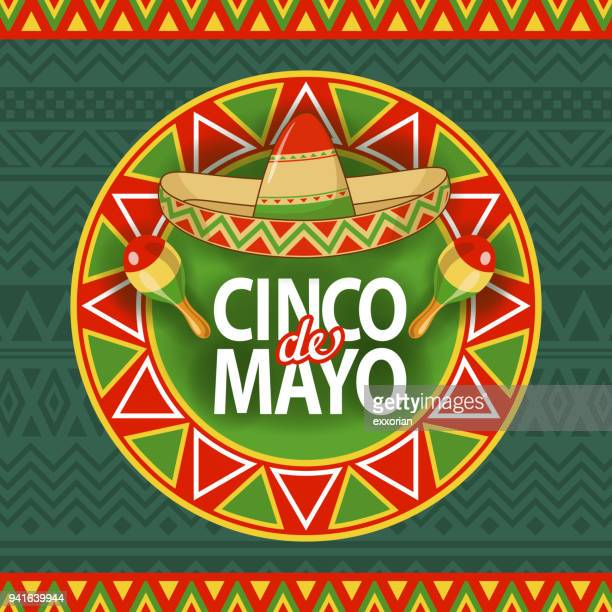 cinco de mayo sombrero celebration - sombrero stock illustrations