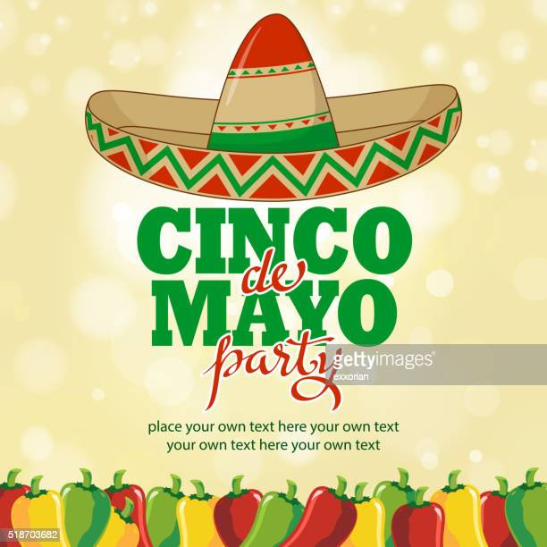 cinco de mayo hottest party - sombrero stock illustrations