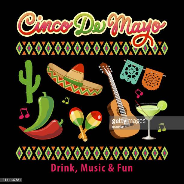 cinco de mayo icon set - sombrero stock illustrations