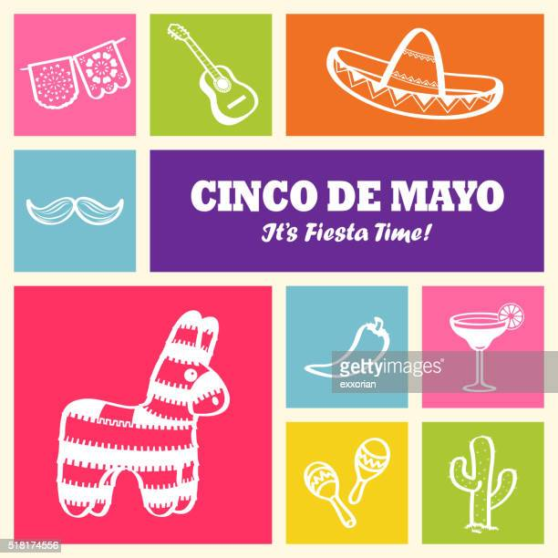 cinco de mayo icons - cinco de mayo stock illustrations