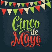 Cinco de Mayo lettering and garland. Vector color vintage engraving