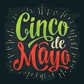 Cinco de Mayo lettering. Vector color vintage engraving illustration.