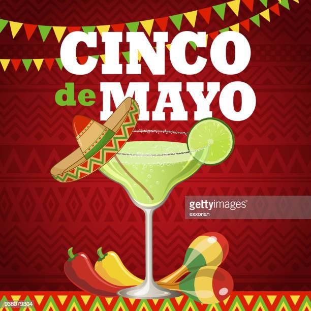 cinco de mayo margarita - tequila drink stock illustrations, clip art, cartoons, & icons