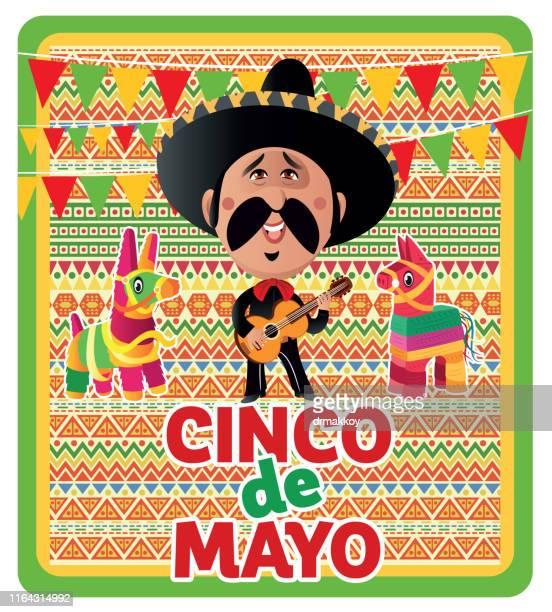 ilustrações, clipart, desenhos animados e ícones de cinco de mayo-maio 5, feriado federal em méxico, viva méxico - pinata