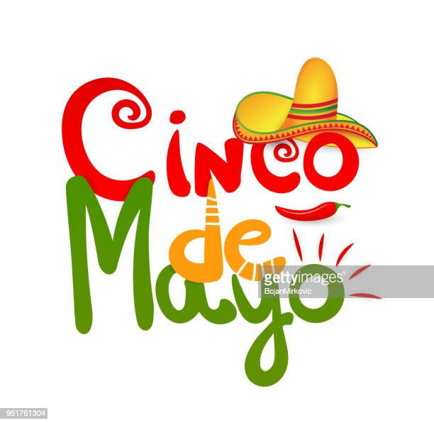 cinco de mayo mexican greeting card. hand lettering with hat and pepper. vector illustration. - cinco de mayo stock illustrations
