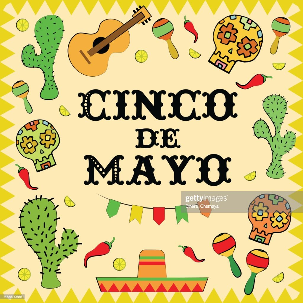 Cinco De Mayo Mexican Holiday Greeting Card Template Vector Art