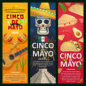 Cinco de Mayo Mexican holiday vector banners