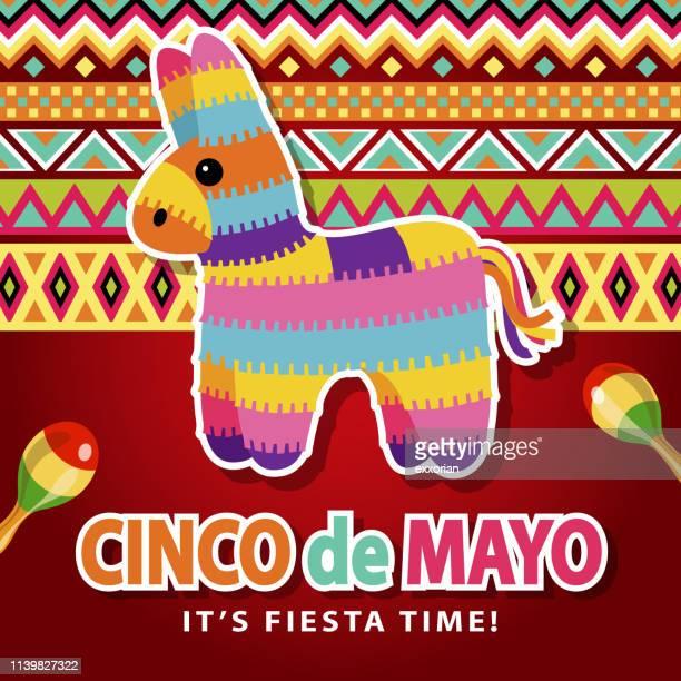 cinco de mayo mexican pinata - pinata stock illustrations
