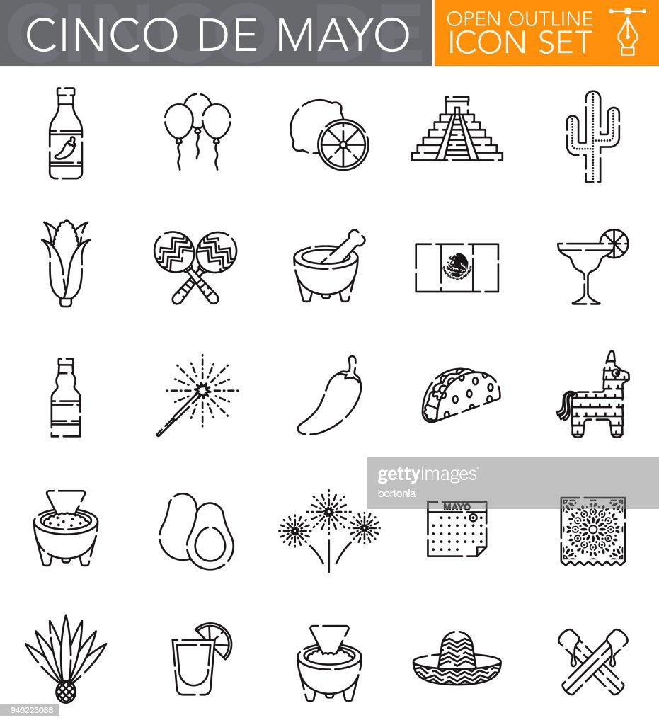 Cinco de Mayo Open Outline Icon Set : Stock Illustration