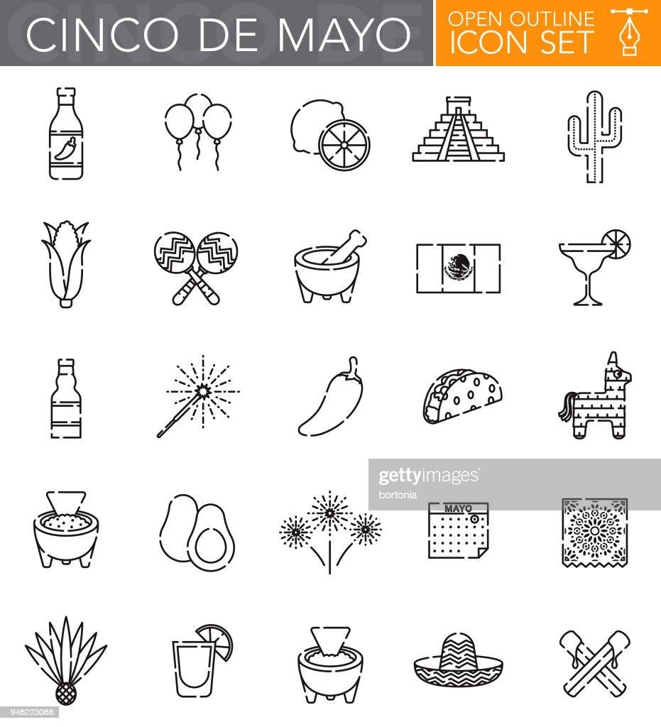 Cinco de Mayo aberto contorno Icon Set : Ilustração
