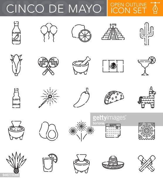 cinco de mayo open outline icon set - mexican food stock illustrations, clip art, cartoons, & icons
