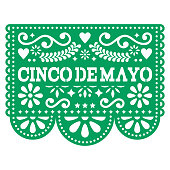 Cinco de Mayo Papel Picado vector design - Mexican paper decoration with pattern and text