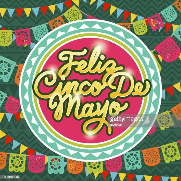 cinco de mayo papel picado - mexican culture stock illustrations