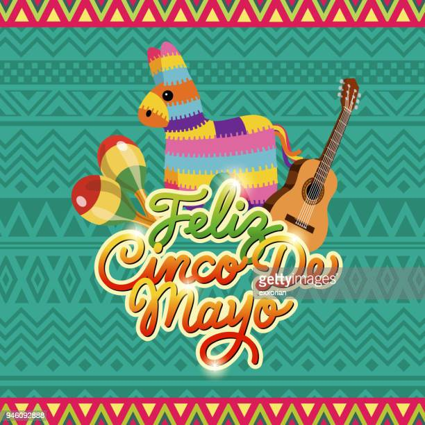 cinco de mayo pinata fiesta - cinco de mayo stock illustrations