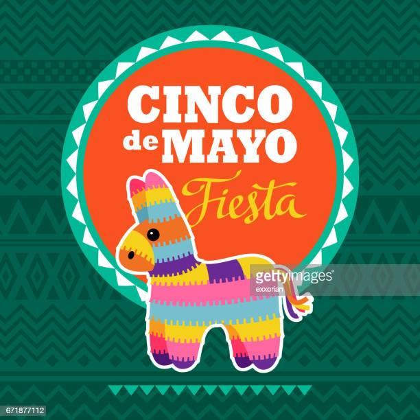cinco de mayo pinata party invitation - cinco de mayo stock illustrations