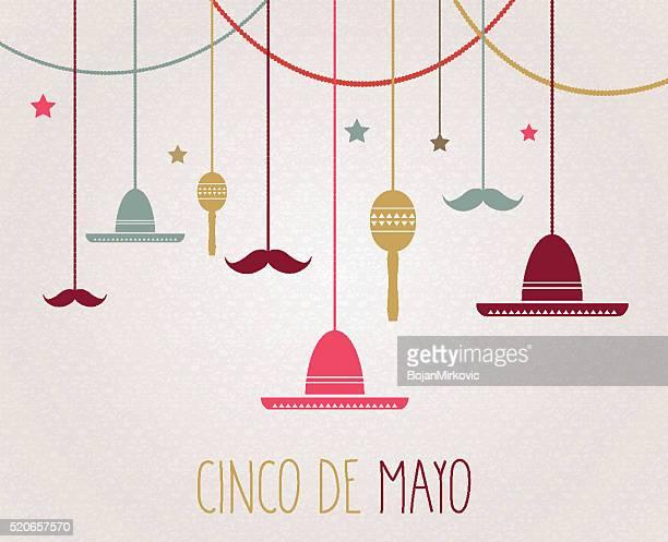 cinco de mayo poster. hanging colorful sombrero, maracas and mustache - cinco de mayo stock illustrations