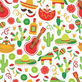 Cinco de Mayo seamless pattern with dancing woman, tequila, cactus