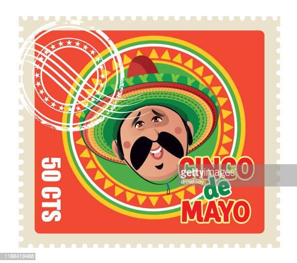 cinco de mayo stempel - sombrero stock-grafiken, -clipart, -cartoons und -symbole