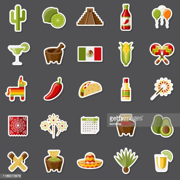 cinco de mayo sticker set - cinco de mayo stock illustrations