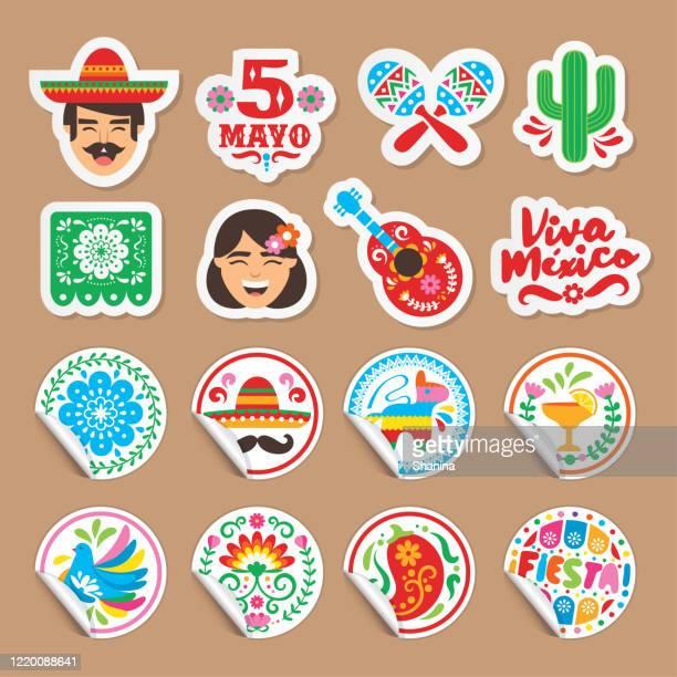 cinco de mayo - stickers set - cinco de mayo stock illustrations