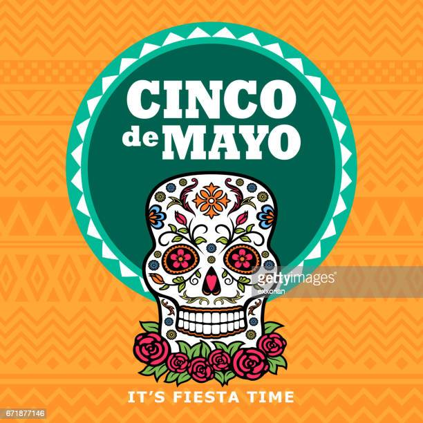 cinco de mayo sugar skull fiesta - cinco de mayo stock illustrations
