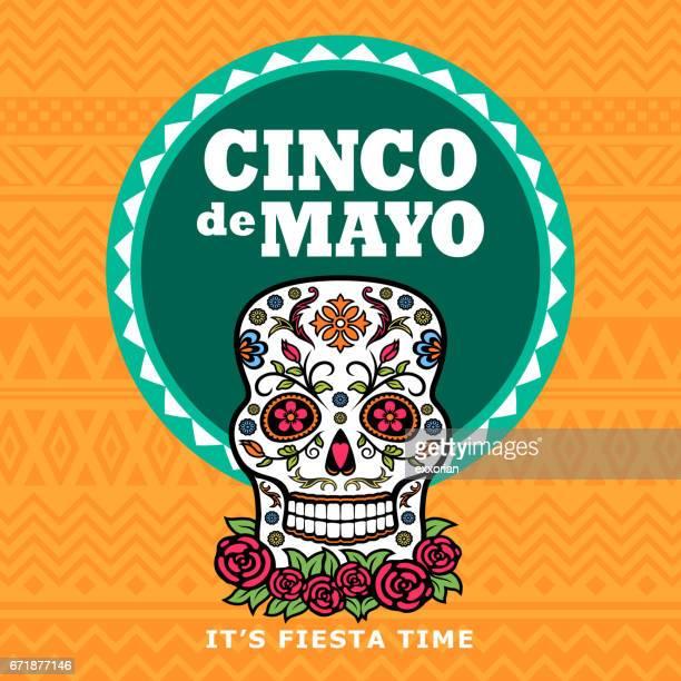 bildbanksillustrationer, clip art samt tecknat material och ikoner med cinco de mayo socker skalle fiesta - mexiko