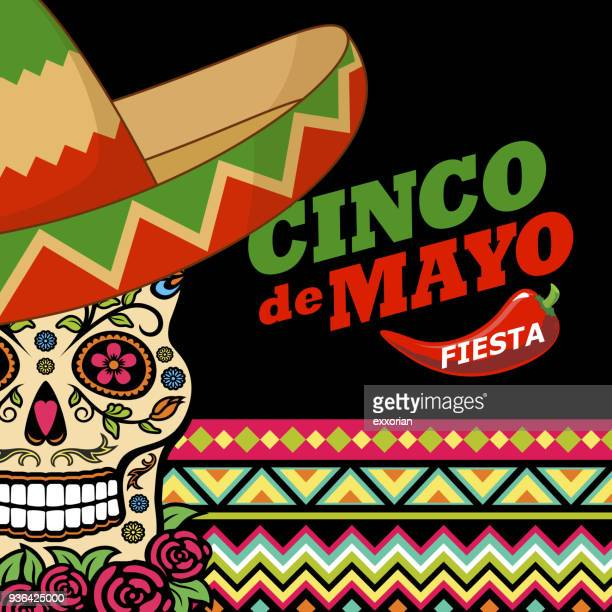 stockillustraties, clipart, cartoons en iconen met cinco de mayo fiesta suiker schedel - sombrero