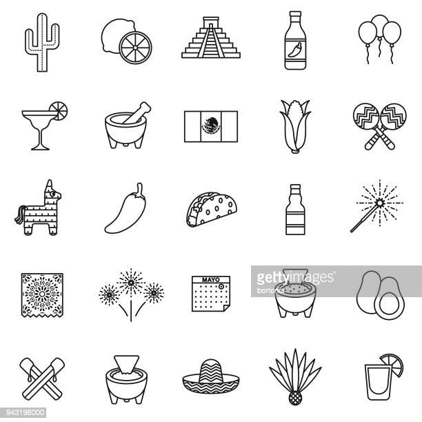 cinco de mayo thin line icon set - pepper vegetable stock illustrations