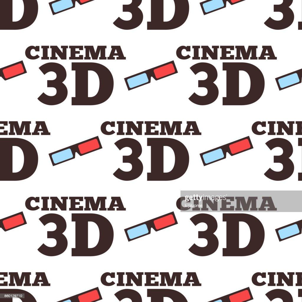 Cinema 3d vector illustration movie entertainment city theater seamless pattern