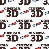 Cinema 3d vector illustration movie entertainment city theater seamless pattern