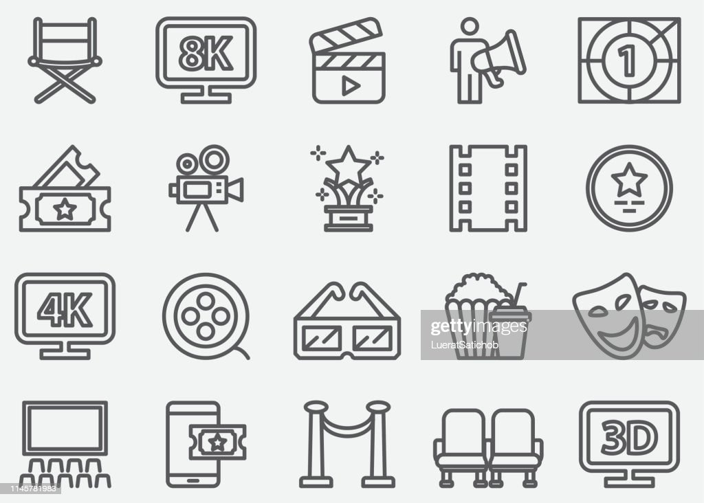 Cinema and Film Industry Line Icons : stock illustration