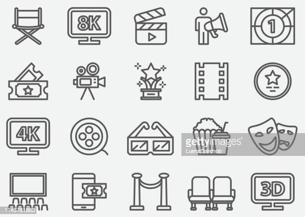Cinema and Film Industry Line Icons