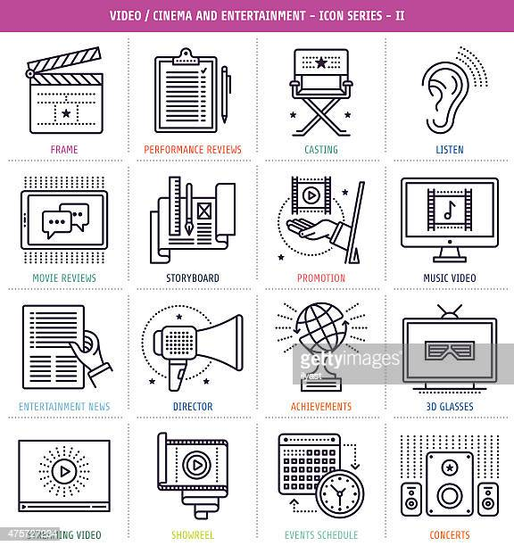 cinema and music icons set - director stock illustrations