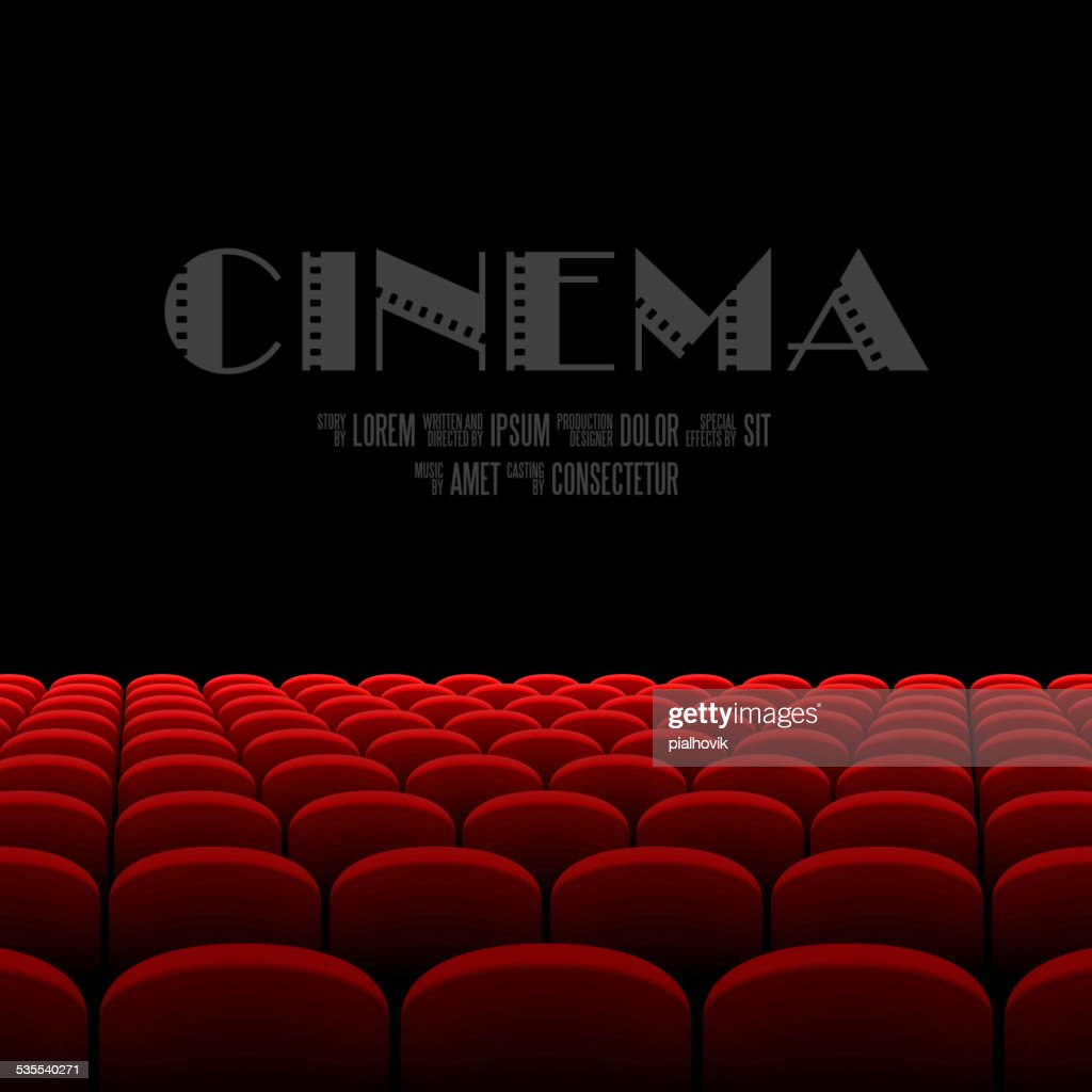 Cinema auditorium with black screen