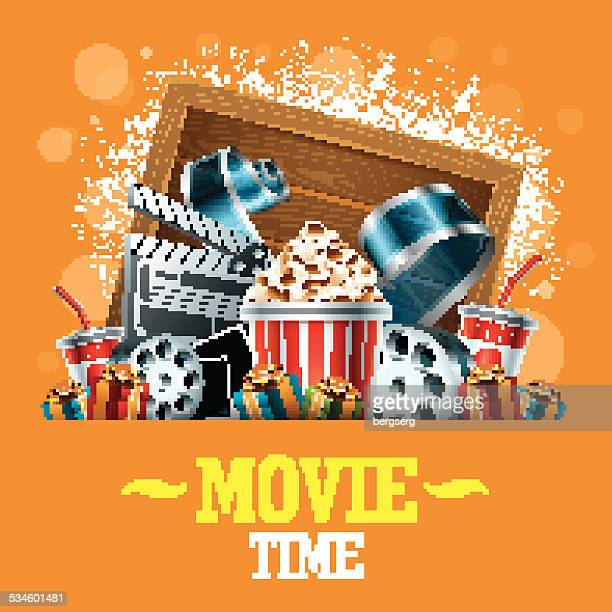 ilustrações, clipart, desenhos animados e ícones de fundo de cinema - rolo