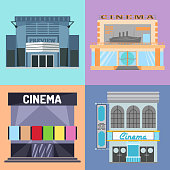 Cinema building vector illustration facade movie entertainment city house architecture theater exterior