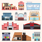 Cinema building vector set.