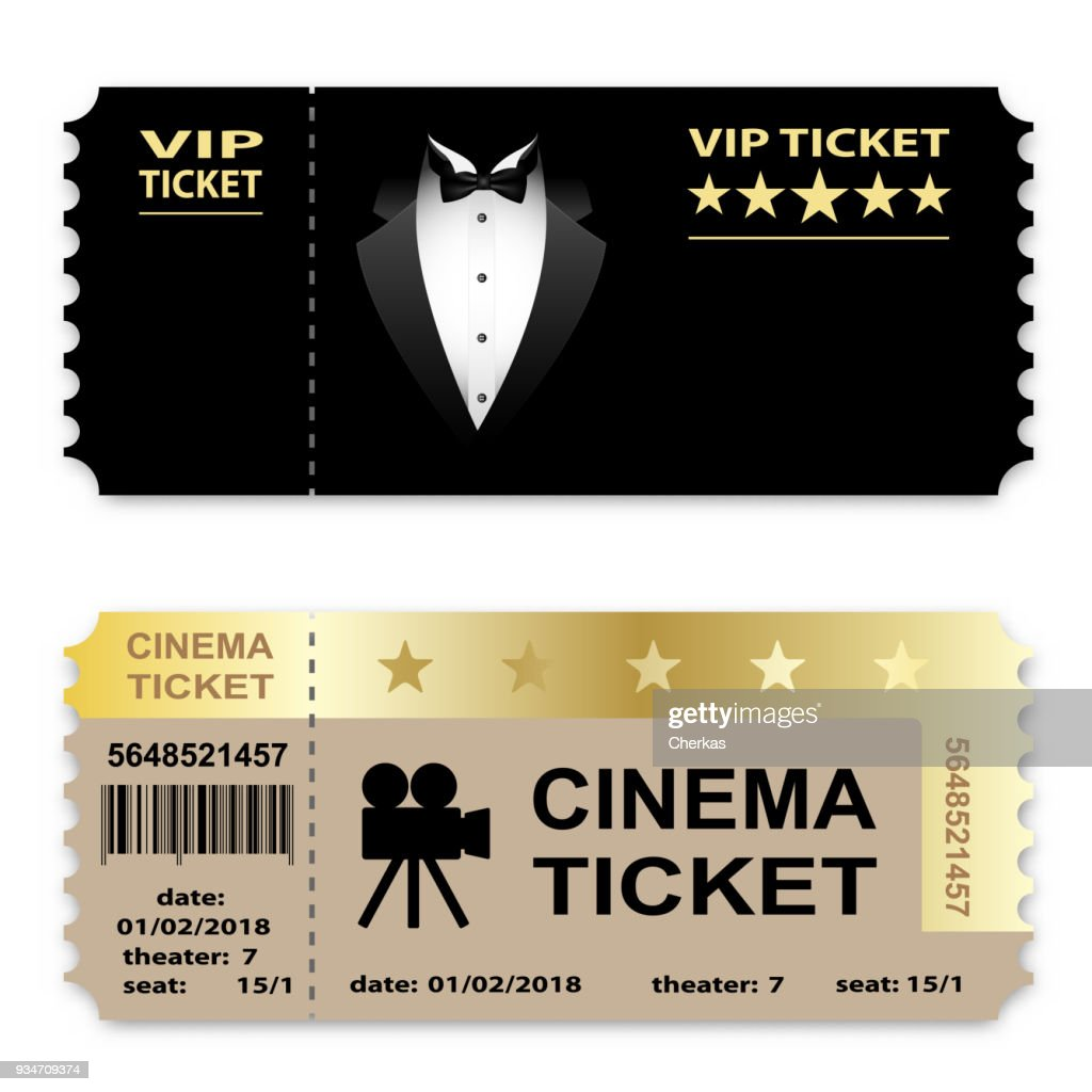 Cinema, Business vip tickets isolated on white background. Coupon icon.