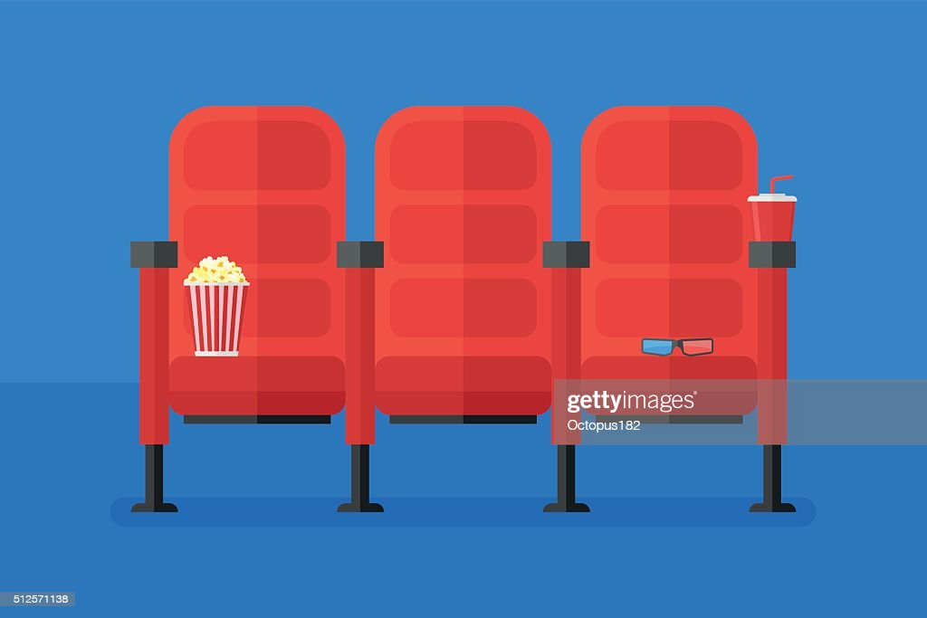 Cinema chairs with popcorn, soda and 3d glasses
