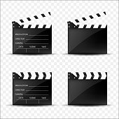 Cinema clappers set isolated. Vector illustration